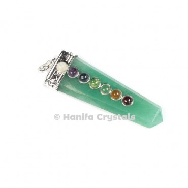 Green Aventurine with Seven Chakra Stones & Silver Cap Pencil Pendant
