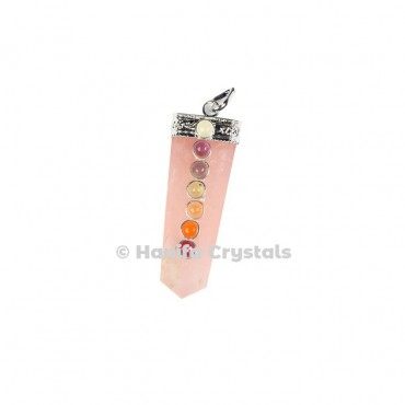 Rose Quartz with Seven Chakra Stones & Silver Cap Pencil Pendant