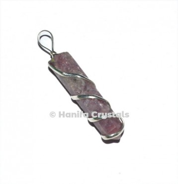 Wire Wrap Lepidolite Pencil Pendant