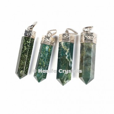 Moss Agate with Silver Cap Pencil Pendant