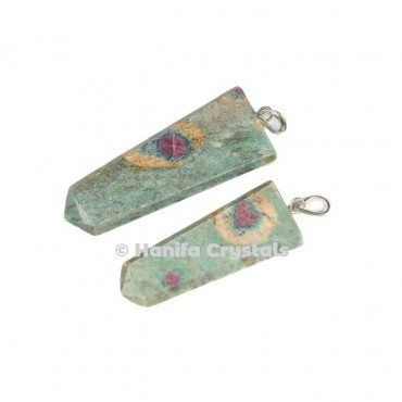 Flat Ruby Zoisite Pencil Pendant