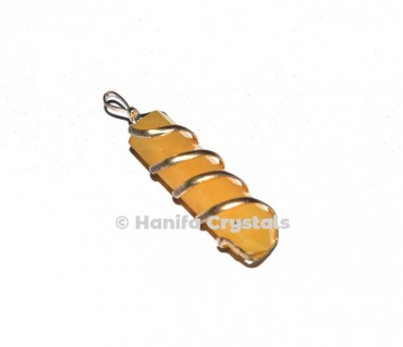 Wire Wrap Golden Quartz Pencil Pendant