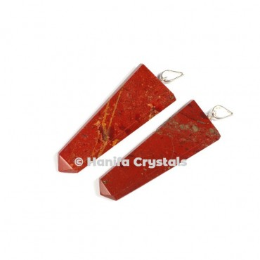 Flat Red Jasper Pencil Pendant