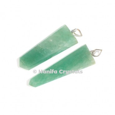 Flat Green Aventurine Pencil Pendant