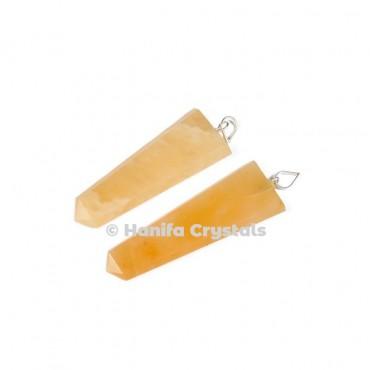 Flat Golden Quartz Pencil Pendant