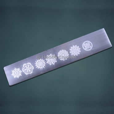 Engraved Chakra Symbol Selenite Massage Wand