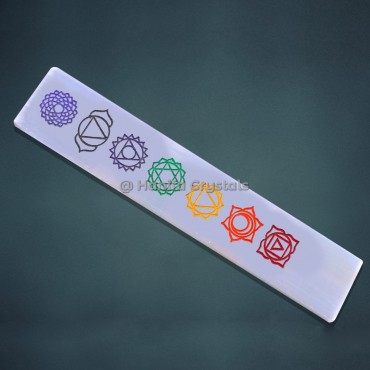Rainbow 7 Chakra Engraved Selenite Wand
