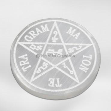 Engraved TE TRA MA Selenite Charging Cercle