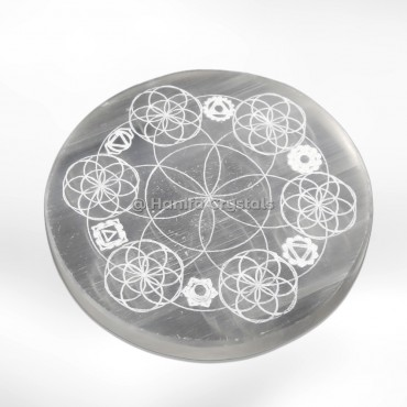 Flower of life with 7 Chakra Engraved Selenite Charging Cercle
