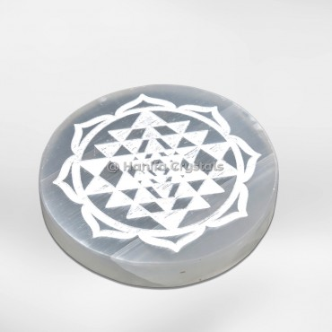 Engraved Shree Yantra Selenite Charging Cercle