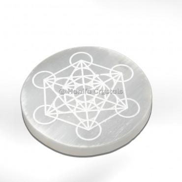 Engraved Metatron Selenite Charging Cercle