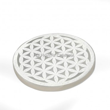 Flower of life Engraved Selenite Charging Cercle