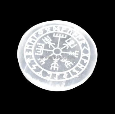 Helm Of Awe Engraved Selenite Charging Disc