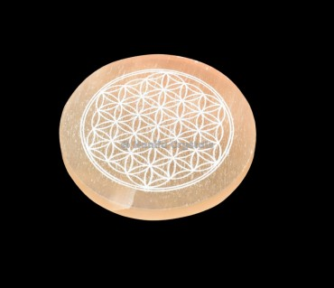 Flower Of Life Engraved Orange Selenite Charging Disc