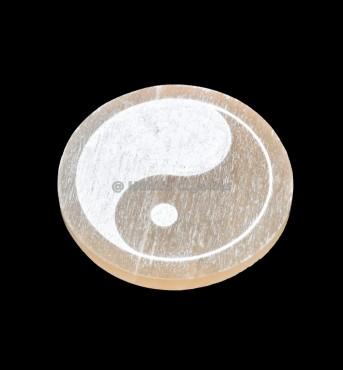 Yin Yang Engraved Orange Selenite Charging Disc