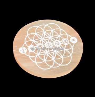 Seven Chakra Engraved Orange Selenite Charging Disc