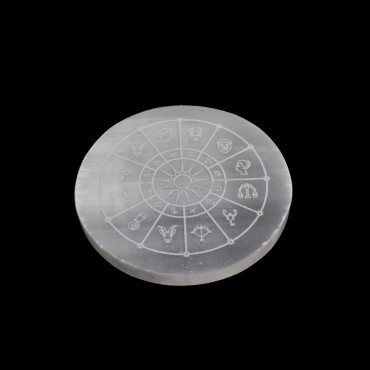 Zodiac Sign Engraved Selenite Charging Disc