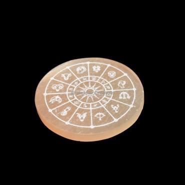 Zodiac Sign Etched Orange Selenite Charging Disc