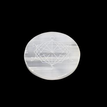 Moon Phase Metatron Selenite Charging Disc