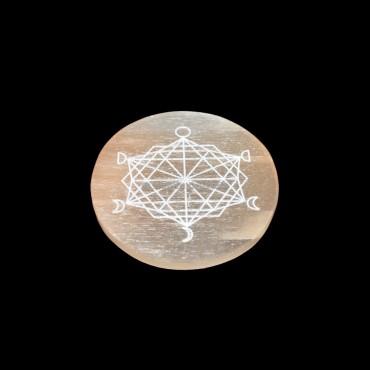 Moon Phase Metatron Orange Selenite Charging Disc