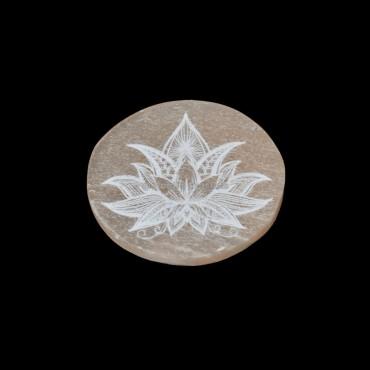 Lotus Etched Orange Selenite Charging Disc