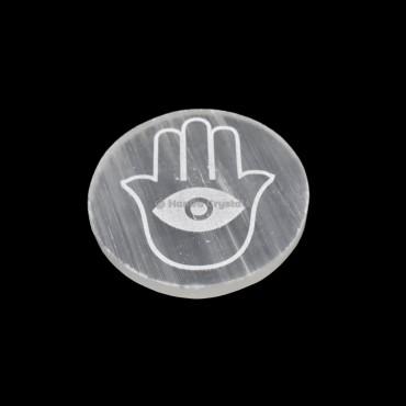 Hamas With Third Eye Engraved Selenite Charging Disc