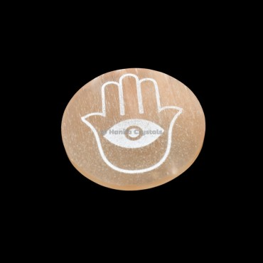 Hamas With Third Eye Engraved Orange Selenite Charging Disc