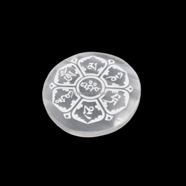 Accent Sanskrit Symbols Selenite Charging Disc