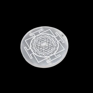 Shree Yantra Engraved Selenite Charging Disc