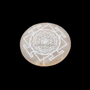 Shree Yantra Engraved Orange Selenite Charging Disc