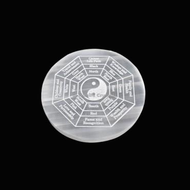 Yin Yang Engraved Grid Selenite Charging Plate