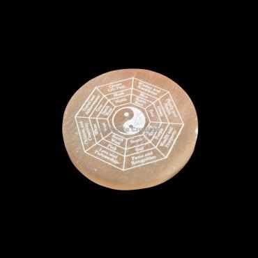 Yin Yang Etched Grid Orange Selenite Charging Plate