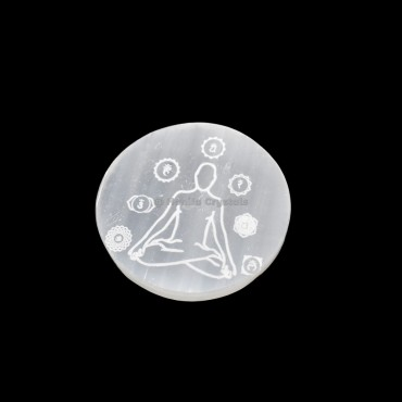 Seven Chakra With Medication Engraved Selenite Charging Plate