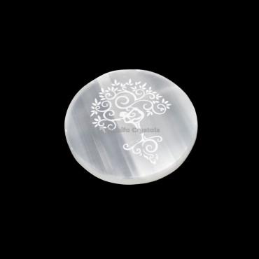 Tree Of Life Engraved Selenite Charging Plate