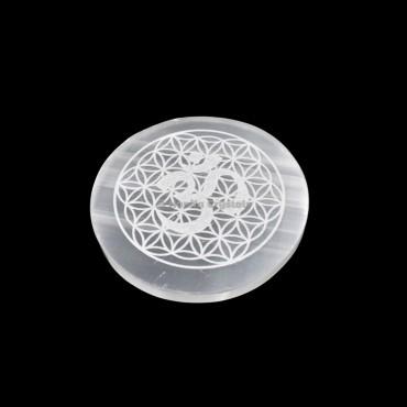 Om Symbol With Flower Engraved Selenite Charging Plate
