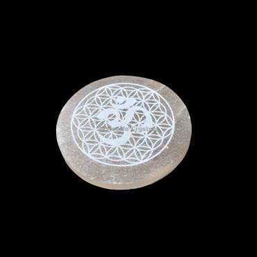 Om Symbol With Flower Engraved Orange Selenite Charging Plate
