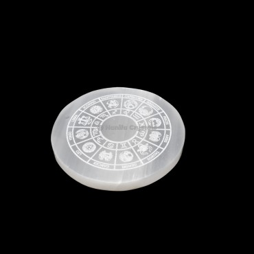 Zodiac Sign Engraved Selenite Charging Plate