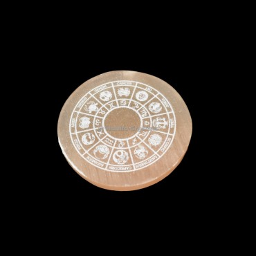 Zodiac Sign Engraved Orange Selenite Charging Plate
