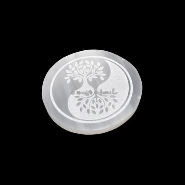 Ying Yang Tree Of Life Selenite Charging Plate