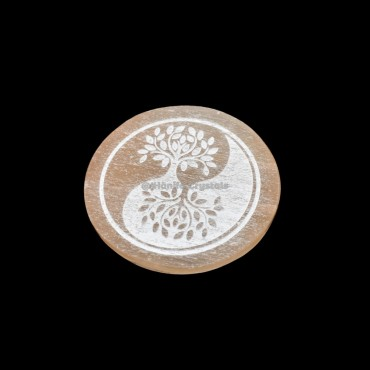 Ying Yang Tree Of Life Orange Selenite Charging Plate