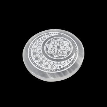 Selenite Disc With Moon Fairy Design Charging Plate