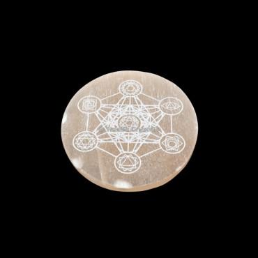 Seven Chakra Metatron Cubs Orange Selenite Engraved Selenite Charging Plate