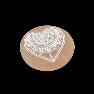 Heart Fairy Design Orange Selenite Charging Plate