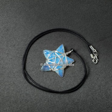 Oplaite Star with Star Wrap Healing Pendants