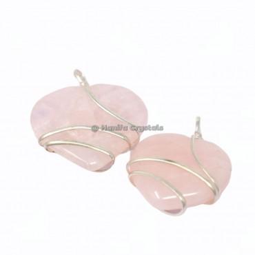 Rose Quartz Heart Wire Wrapped Pendants