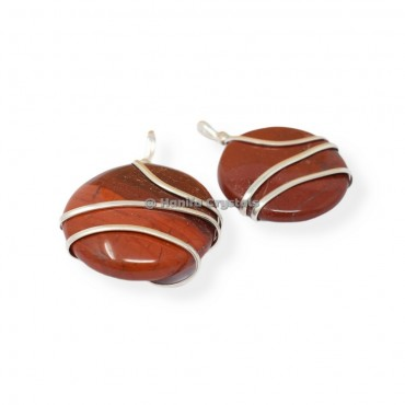 Red Jasper Circle Wire Wrapped Pendants