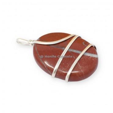 Red Jasper Oval Wire Wrapped Pendants