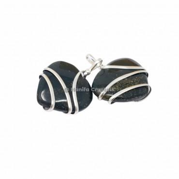 Labradorite Heart Wire Wrapped Pendants