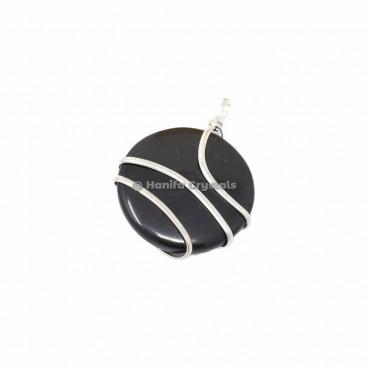 Black Tourmaline Circle Wire Wrap Pendant