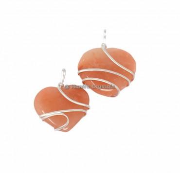 Peach Aventurine Heart Wire Wrap Pendant